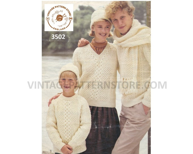 """Womens Mens Boys Girls family V or round neck cable cabled raglan aran jumper hat & scarf pdf knitting pattern 22"""" to 44"""" Download 3502"""