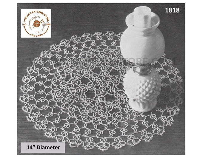 60s vintage tatted lace circular round doily doilies pdf tatting pattern 35.5cm diameter Instant PDF download 1818