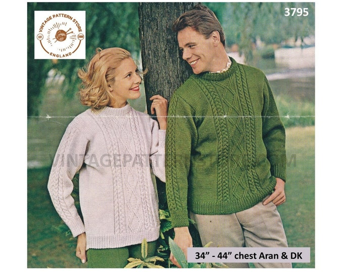 """Ladies Womens Mens 70s crew neck cable cabled raglan aran sweater jumper DK trews trousers pdf knitting pattern 34"""" to 44"""" PDF download 3795"""