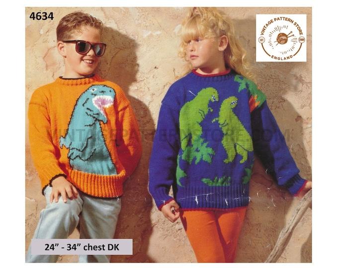 "Girls Boys 90s DK round neck drop shoulder dinosaur intarsia raglan sweater jumper pullover pdf knitting pattern 24"" to 34"" Download 4634"