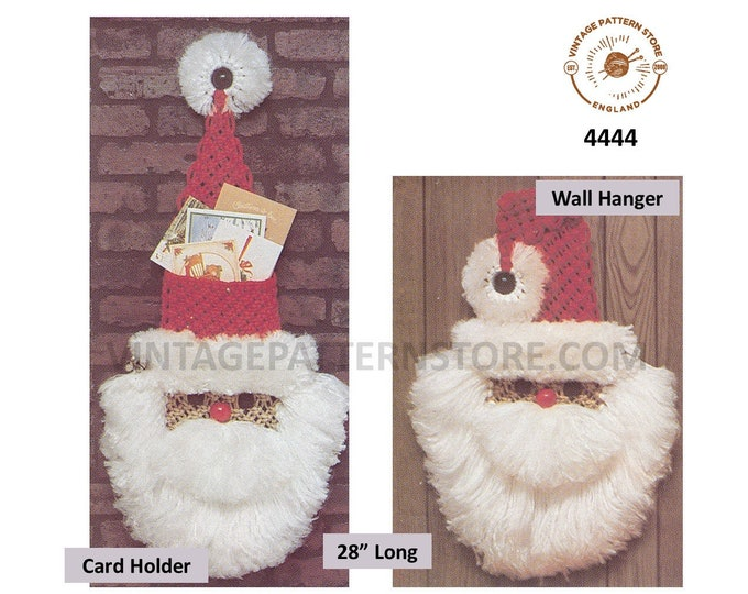 """70s vintage macrame Santa Claus wall hanging and card holder ornament decoration pdf macrame pattern 28"""" Long Instant PDF download 4444"""