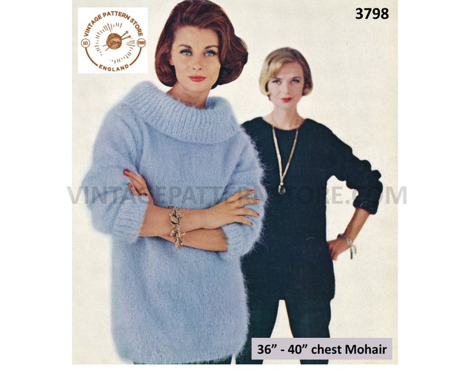 """Ladies Womens 70s easy to knit round or cowl neck drop shoulder dolman mohair sweater jumper pdf knitting pattern 36"""" to 40"""" Download 3798"""