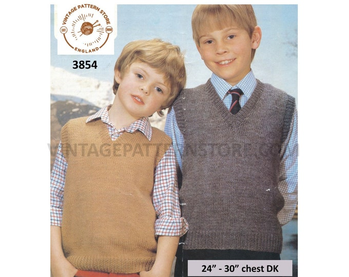 """Boys 70s plain quick and simple easy to knit V neck DK tank top sweater vest slipover pdf knitting pattern 24"""" to 30"""" Instant download 3854"""