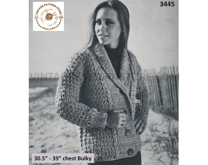 "Womens 70s vintage easy to crochet shawl collar drop shoulder bulky raglan cardigan jacket pdf crochet pattern 30"" to 39"" Download 3445"