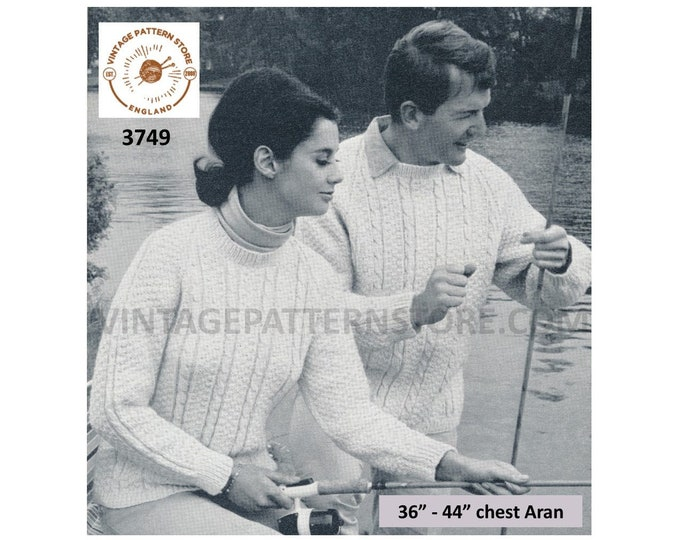 """Ladies Womens Mens 50s vintage round neck cabled cable & texture raglan aran sweater jumper pdf knitting pattern 36"""" to 44"""" Download 3749"""