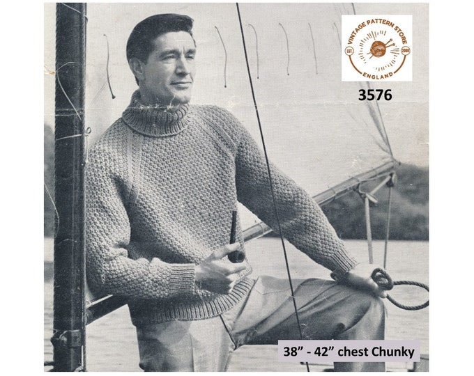 """Mens Mans 50s vintage chunky knit polo neck textured raglan sweater jumper pullover pdf knitting pattern 38"""" to 42"""" chest PDF download 3576"""
