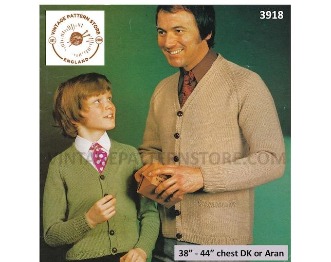 "Mens Mans Boys 70s vintage simple & easy to knit V neck aran or DK raglan cardigan pdf knitting pattern 26"" to 44"" Instant PDF download 3918"