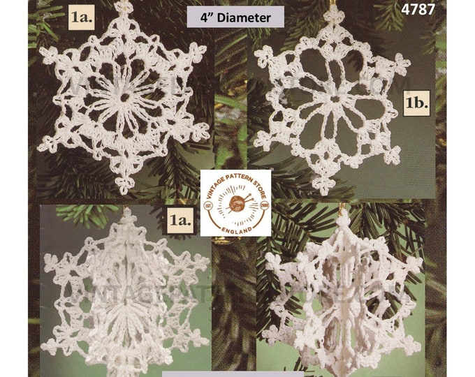 "90s vintage crochet snowflake Christmas tree decoration ornament pdf crochet pattern 4 designs to make 4"" diameter Instant PDF Download 4787"