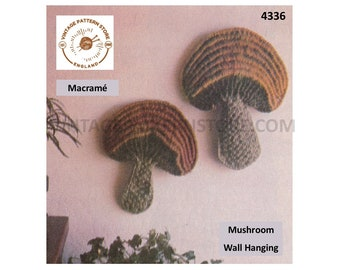 70s vintage macrame art toadstool mushroom wall hanging pdf macrame pattern see details for sizes Instant PDF Download 4336