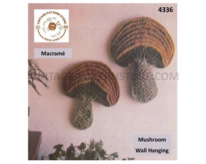 70s vintage macrame art toadstool mushroom wall hanging pdf macrame pattern see details for sizes Instant PDF Download 4336