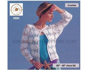 "Womens Ladies 90s picot round neck corchet motif dolman Summer jacket pdf crochet pattern 30"" to 40"" Instant PDF Download 4886"