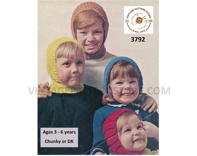 Childrens Boys Girls 70s easy to knit chunky aran or DK balaclava helmet & hood pdf knitting pattern ages 3 to 6 years PDF download 3792