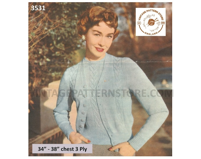 """Ladies Womens 50s 3 ply cabled cable panel V neck raglan cardigan sweater jumper twin set pdf knitting pattern 34"""" to 38"""" PDF download 3531"""