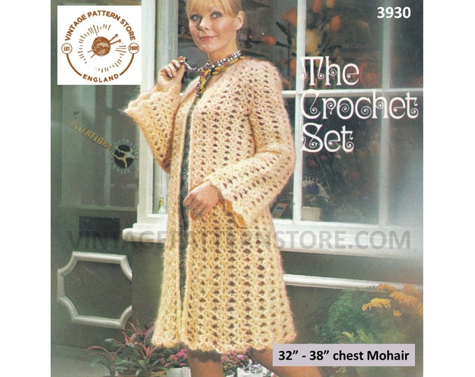 """Ladies Womens 70s bold lace V neck open fronted flared raglan sleeve mohair cardigan coat pdf crochet pattern 32"""" to 38"""" PDF download 3930"""