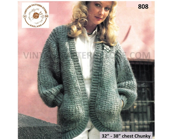 """Ladies Womens 80s vintage V neck drop shoulder chunky knit open front dolman cardigan pdf knitting pattern 32"""" to 42"""" Instant download 808"""