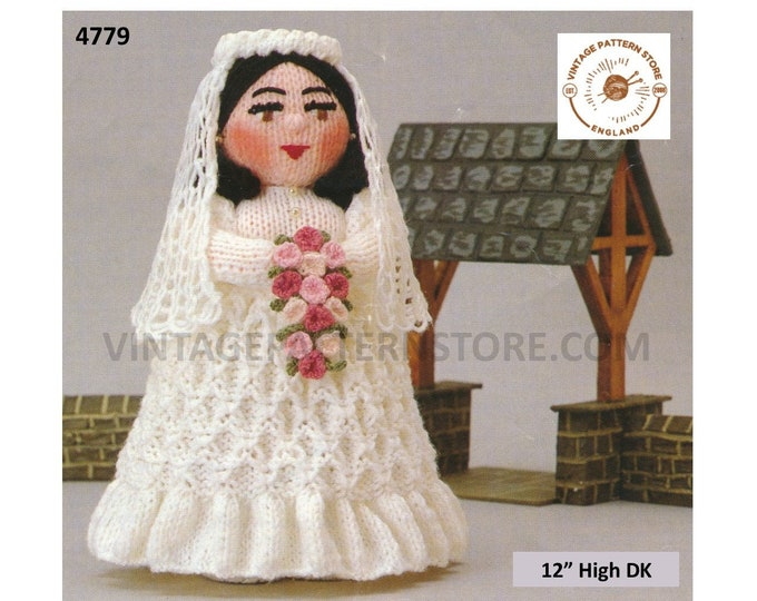 """80s vintage retro fun to knit oddments cuddly toy bride doll pdf knitting pattern 12"""" High Instant PDF Download 4779"""
