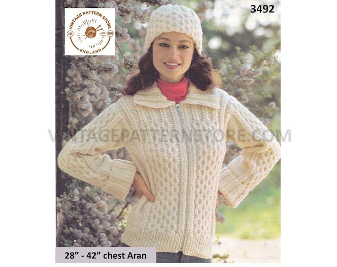 "Womens Ladies Girls 90s round neck collared cabled raglan aran cardigan jacket & beanie hat pdf knitting pattern 28"" to 42"" Download 3492"