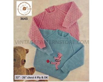 "Girls Boys Toddlers 70s round neck easy to knit motif or textured 4 ply & DK raglan sweater pdf knitting pattern 22"" to 26"" Download 3643"