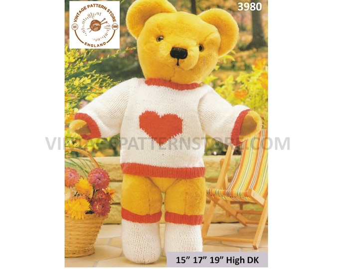 "90s DK 15"" 17"" 19"" high DK cuddly teddy bear clothes heart sweater and socks pdf knitting pattern Instant PDF download 3980"