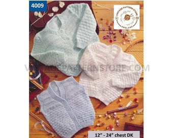 """Premature Preemie Baby Babies round & V neck texture cardigan matinee coat waistcoat pdf knitting pattern 12"""" to 24"""" chest PDF download 4009"""