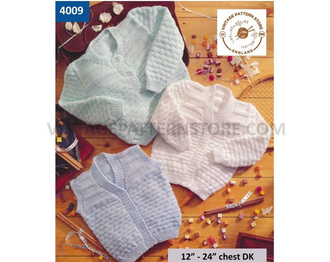 "Premature Preemie Baby Babies round & V neck texture cardigan matinee coat waistcoat pdf knitting pattern 12"" to 24"" chest PDF download 4009"