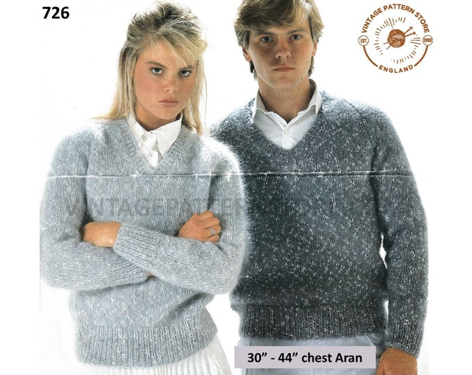 """Ladies Womens Mens 90s simple and easy to knit V neck raglan aran sweater jumper pdf knitting pattern 30"""" to 44"""" chest Instant download 726"""