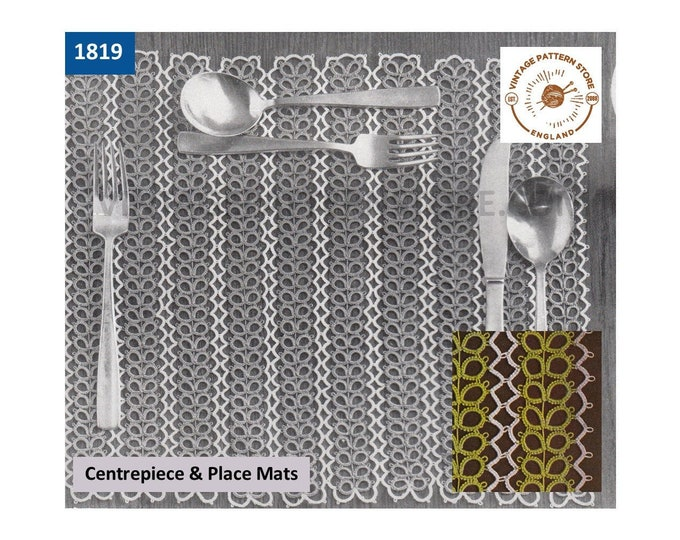 60s vintage tatted lace rectangular place mats dining luncheon set pdf tatting pattern Instant PDF download 1819
