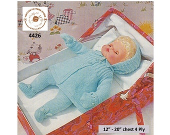 """80s vintage 12"""" 14"""" 16"""" 18"""" 20"""" 4 ply baby doll clothes matinee coat bonnet mittens and leggings pram set pdf knitting pattern Download 4426"""
