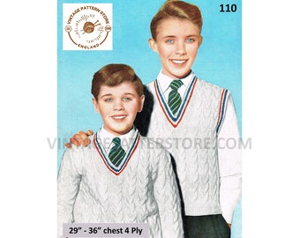 """Boys 50s vintage 4 ply V neck cable cabled raglan sleeveless sweater vest tank top pdf knitting pattern 29"""" to 36"""" chest PDF download 110"""