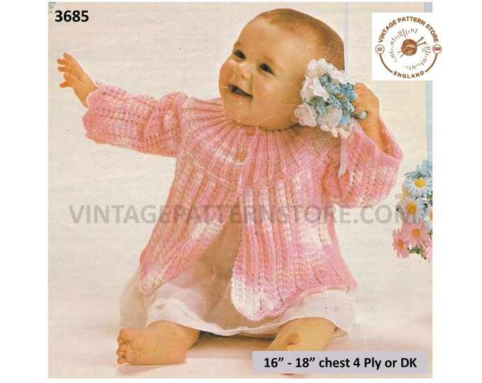 """Baby Babies 80s vintage 4 ply or DK round neck contrast yoke lacy matinee jacket coat pdf knitting pattern 16"""" to 18"""" chest download 3685"""