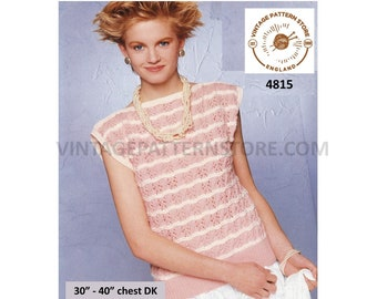 """Womens 90s DK slash neck cable and lace lacy cap sleeve slipover Summer top sweater vest pdf knitting pattern 30"""" to 40"""" PDF Download 4815"""