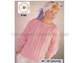 """Ladies Womens 90s 4 ply round neck cabled cable and eyelet lace lacy raglan sweater jumper pdf knitting pattern 30"""" to 40"""" PDF Download 4740"""