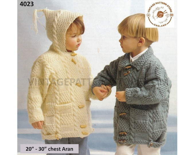 """Boys Girls 90s cable cabled collared drop shoulder aran hoodie duffle coat jacket pdf knitting pattern 20"""" to 30"""" PDF download 4023"""