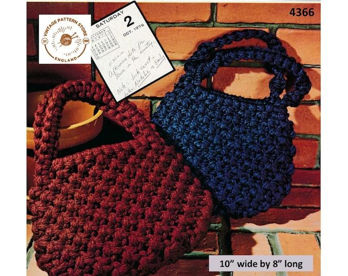 """70s vintage boho bohemian macrame hand bag purse pdf macrame pattern 10"""" by 8"""" Instant PDF Download 4366"""