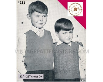"""Boys 50s vintage DK V neck easy to knit & round neck cable cabled tank top sweater vest pdf knitting pattern 22"""" to 26"""" PDF Download 4231"""