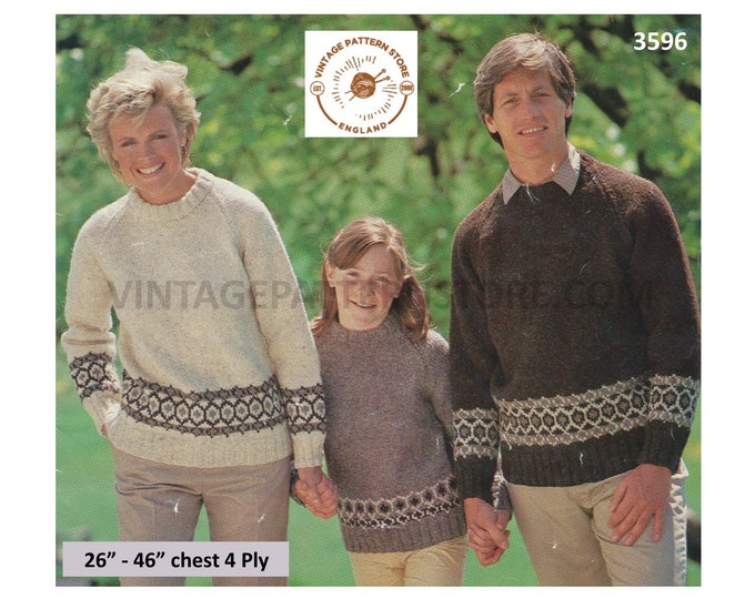 """Womens Mens Boys Girls 80s family 4 ply fair isle banded round neck raglan sweater jumper pdf knitting pattern 26"""" to 46"""" Download 3596"""