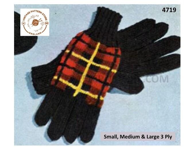 Mens Mans Ladies Womens 50s vintage 3 ply traditional Scottish tartan gloves pdf knitting pattern small medium & large Download 4719