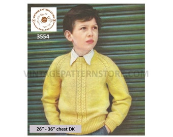 """Boys 50s vintage DK round neck cabled cable panel raglan sweater jumper pullover pdf knitting pattern 26"""" to 36"""" Instant PDF download 3554"""