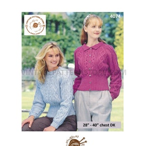 KNITTING PATTERN Ladies Round Neck Cropped Cable Cardigan /& Long Jacket DK 4074