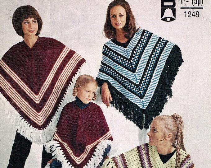 Original Pattern Bellmans 1248 Ladies Womens Girls 70s vintage DK round V neck striped & fair isle poncho pdf knitting and crochet pattern