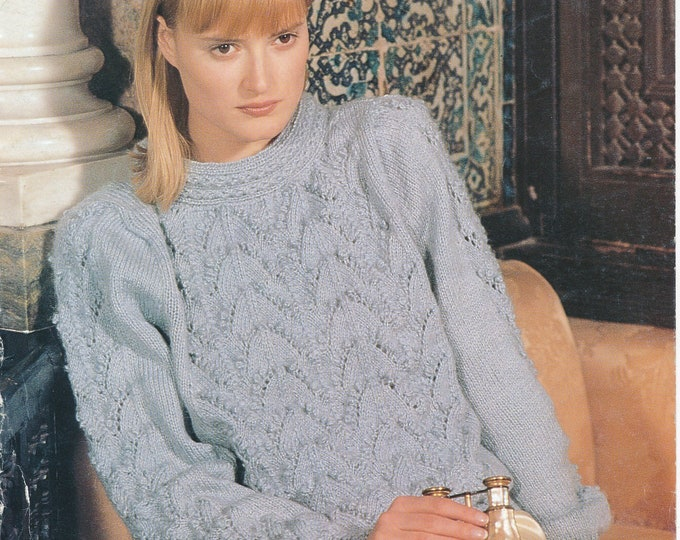 """Original Pattern Jaeger 5976 Ladies Womens 90s round neck drop shoulder cabled cable & lace raglan sweater knitting pattern 32"""" to 40"""" chest"""