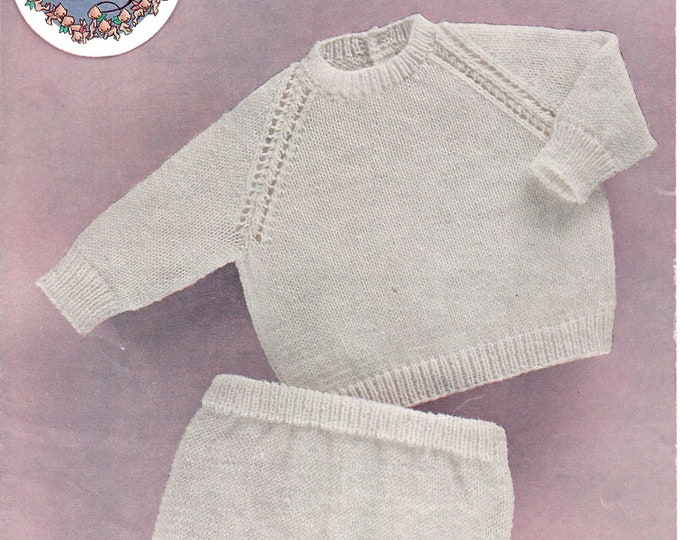 "Original Pattern Peter Pan 245 Baby Babies 70s easy to knit DK round neck raglan jumper & pilch shorts knitting pattern 18"" to 22"" chest"