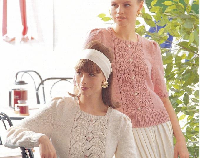 "Original Knitting Pattern Jarol 507 Ladies Womens 90s square neck long or short sleeve lacy lace panel raglan DK sweater jumper 30"" to 40"""