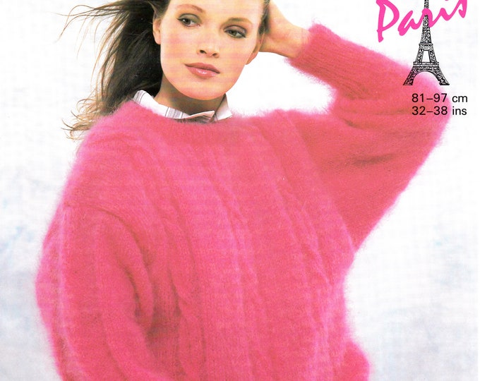 """Original Knitting Pattern Sunbeam 1218 Womens 90s crew neck cable cabled drop shoulder slouchy dolman mohair sweater jumper 32"""" to 38"""""""