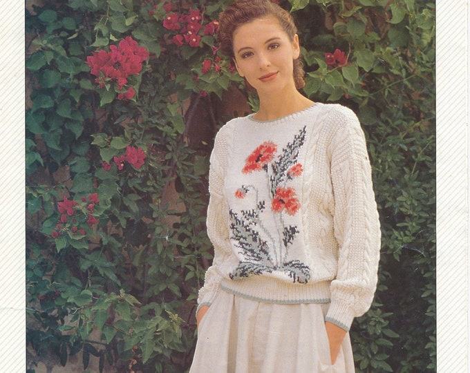 """Original Pattern Jaeger 6221 Womens 90s DK round neck floral fair isle cable cabled drop shoulder raglan sweater knitting pattern 32"""" to 42"""""""