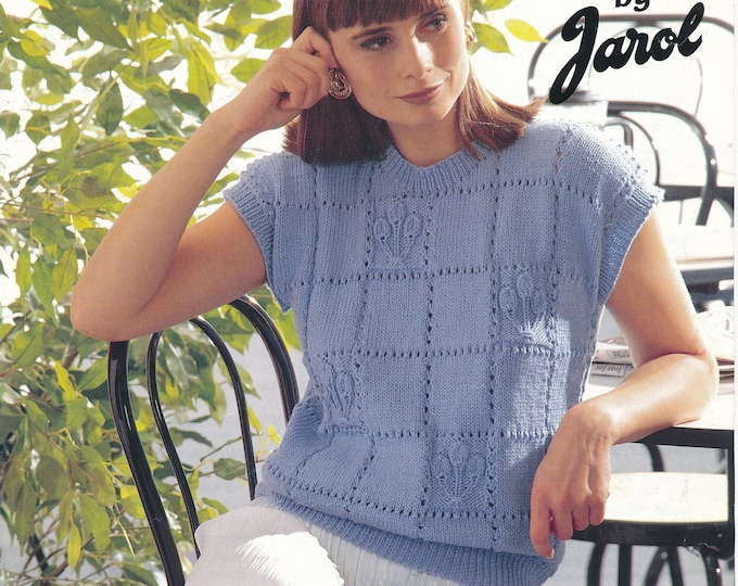 """original Knitting Pattern Jarol 504 Ladies Womens 90s DK cap sleeve lacy check slipover sweater vest summer top pattern 32"""" to 42"""" chest"""