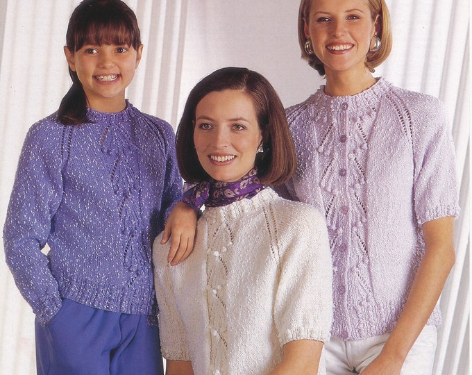 "Original Knitting Pattern Jarol 868 Ladies Womens Girls 90s round neck bobble cable lace panel raglan DK sweater jumper cardigan 24"" to 40"""