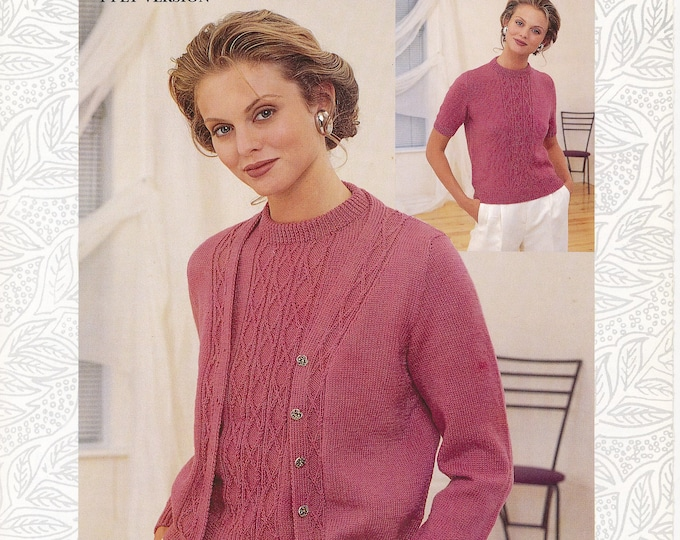 "Original Pattern Jaeger 5239 Womens 90s 4 ply or DK V neck cabled raglan cardigan & round neck sweater jumper knitting pattern 32"" to 42"""