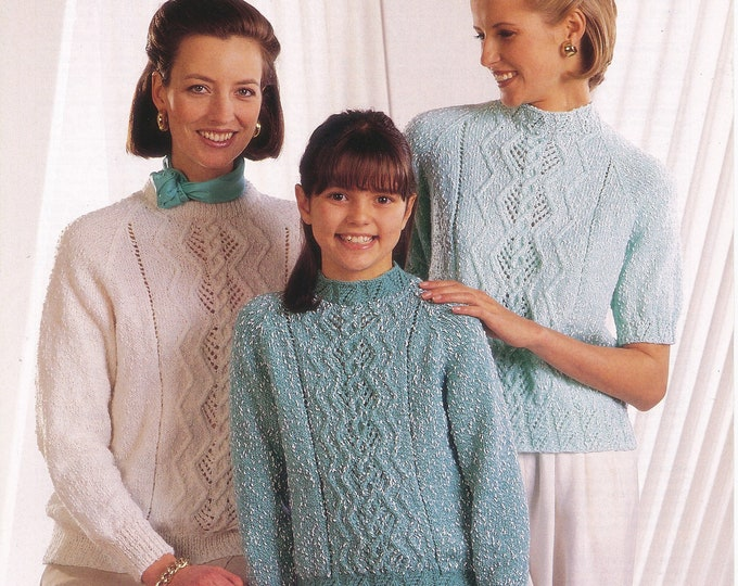 """Original Knitting Pattern Jarol 865 Ladies Womens Girls 90s round neck cabled cable and lace panel DK raglan tunic sweater jumper 24"""" to 40"""""""