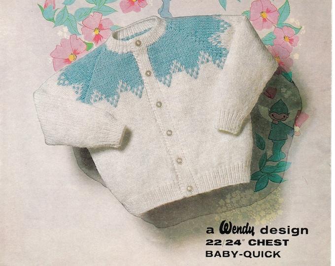 """Original Knitting Pattern Peter Pan 73 Baby Babies Toddlers 60s vintage DK fair isle yoke yoked round neck raglan cardigan 22"""" to 24"""" chest"""
